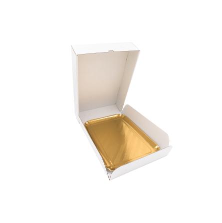 Boîte traiteur à micro-cannelures blanche
