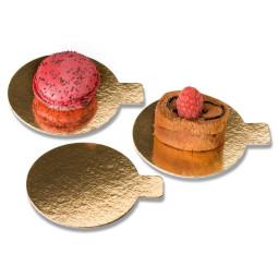 Petit rond doré avec languette pour pâtisseries individuelles