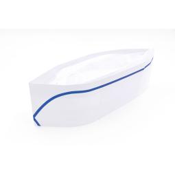 Calot en papier réglable blanc avec liseré bleu