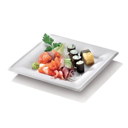 Assiette blanche carrée à rebord en canne à sucre