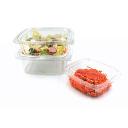 Barquette à salade fraicheur jetable en plastique avec couvercle attaché