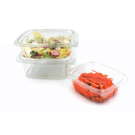 Barquette à salade en plastique carré avec couvercle attaché
