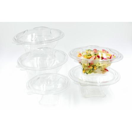 Saladier en plastique avec couvercle attaché