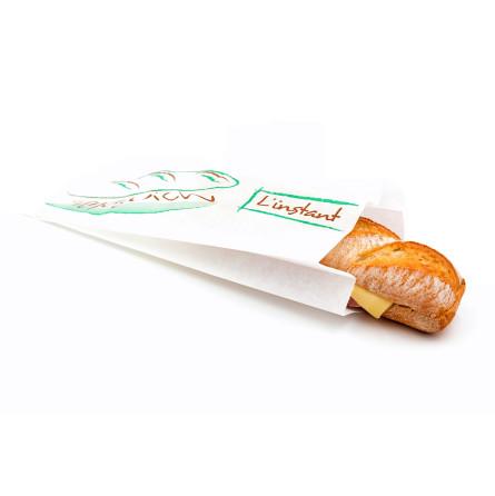 Sac sandwich décoré en kraft blanc ingraissable pour sandwich chaud et froid