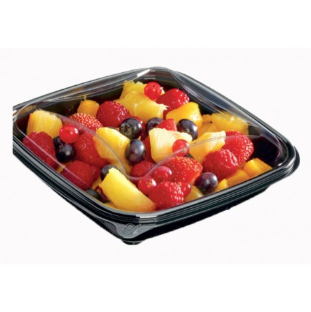 Boîte à salade CRUDIPACK noire ou transparente avec couvercle séparé