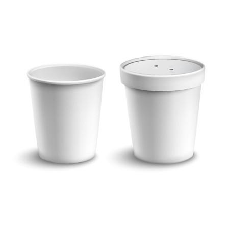 Pot à soupe en carton blanc et son couvercle