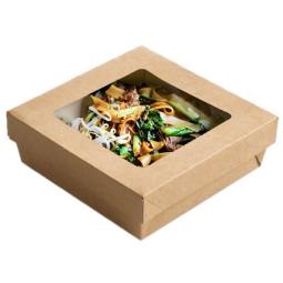 Boite carton avec couvercle fenêtre en kraft brun (vendus séparément)