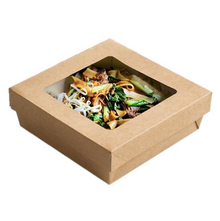 Boite carton avec couvercle fenêtre en kraft brun