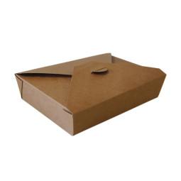 Lunch box carton brun avec couvercle 4 rabats