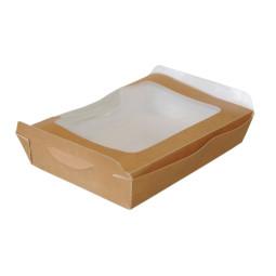 Lunch box carton brun avec couvercle à fenêtre