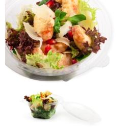 Bol à salade jetable en plastique avec couvercle attaché
