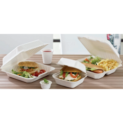Lunch box ou boite repas 1 ou 3 compartiments en bagasse biodégradable