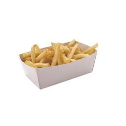 Barquette à frites en carton blanc - 2 tailles