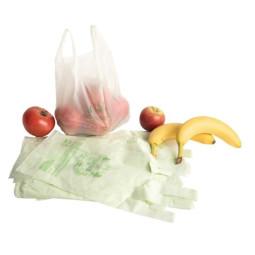 Sac plastique biodégradable à bretelles liassé compostable - 3 tailles