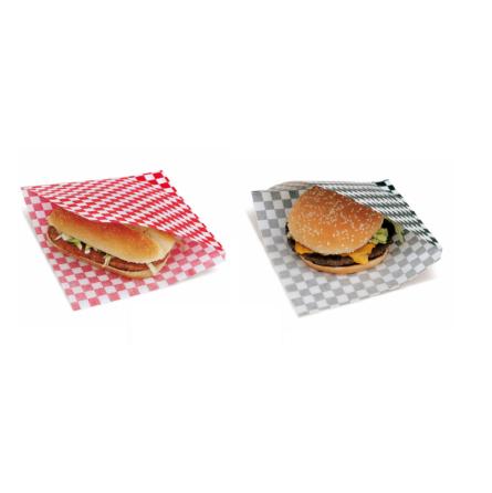Sachet damier rouge ou noir ouvert sur 2 côtés pour kebabs, sandwichs, burgers ...