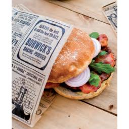 Sachet imprimé journal ouvert sur 2 côtés pour kebabs, sandwichs, burgers ...