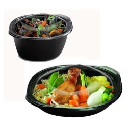 Marmite wok fond noir + couvercle micro-ondable - 4 tailles